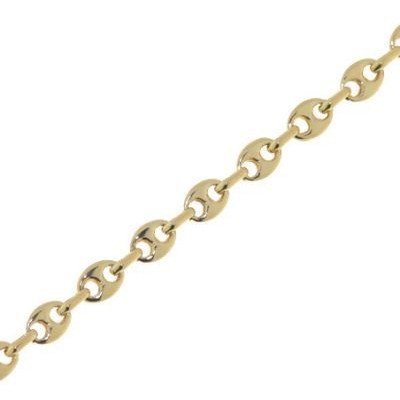 Bracelet Or Jaune grains de café 3.3mm - 18cm