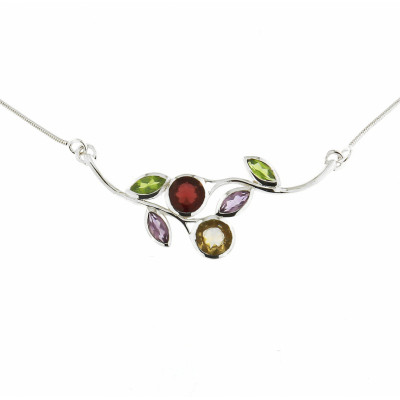 Collier Argent  Multicolore