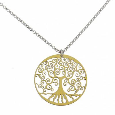 Collier argent rhodié motif arbre de vie doré