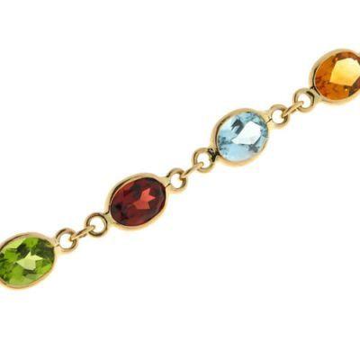 Collier pierres multicolores 8x6mm Or Jaune 375