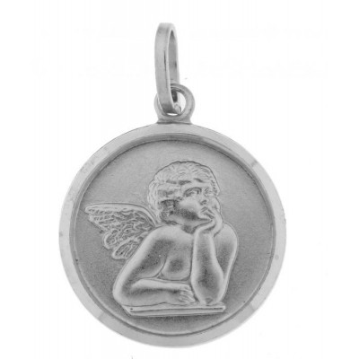 Medaille Ange Argent Rhodié 18mm