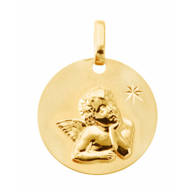 Très Médaille baptême Ange en Or jaune 750 (16mm) Ref. 27364 EO54
