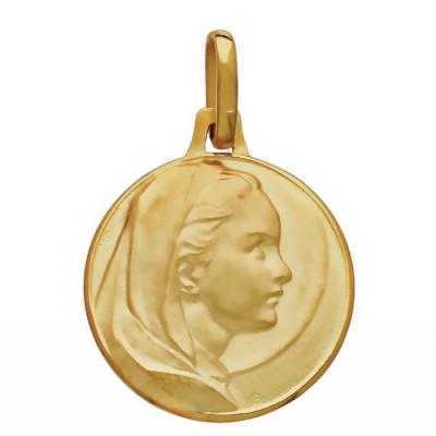 Médaille Or  Jaune 750 Vierge de l'annonciation 17mm