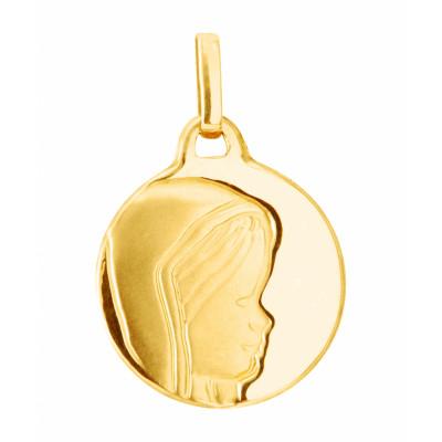 Médaille Or Jaune Vierge de profil (15mm)