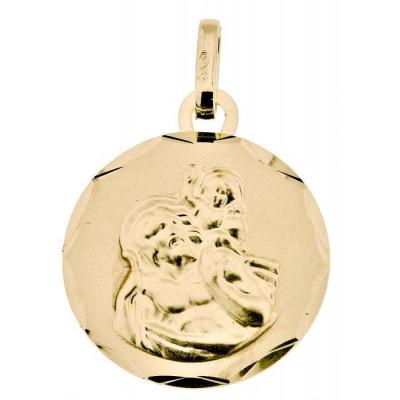 Médaille Saint Christophe Ronde Or Jaune 750
