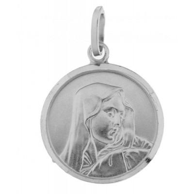 Medaille Vierge Argent Rhodié 18mm
