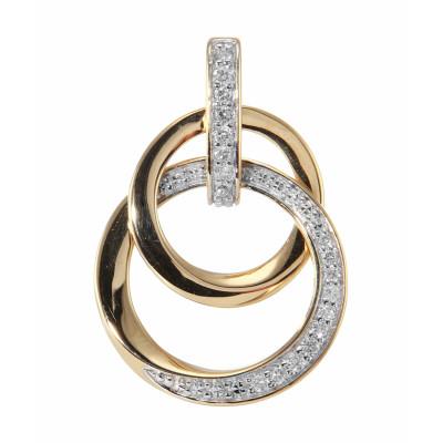 Pendentif 2 Cercles Or Jaune Diamant