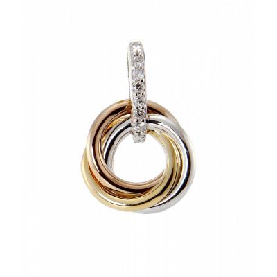 Pendentif 3 Anneaux entrelacés 3 Ors 750 Diamant