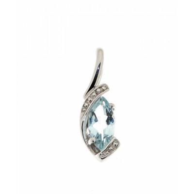 Pendentif Aigue Marine Marquise 8x4mm et Diamant Or Blanc 375