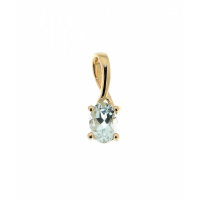 Pendentif  Aigue Marine Ovale 6x4mm Or Jaune 375