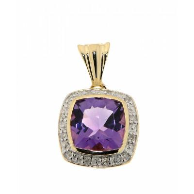 Pendentif Améthyste Coussin 8mm et Diamant Or Jaune 375