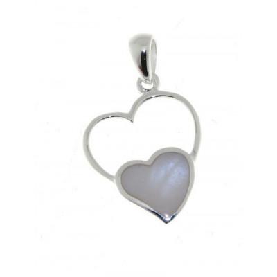 Pendentif Argent 925 Coeur Nacre blanche
