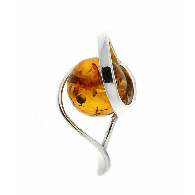 Pendentif boule d'ambre sur Argent 925