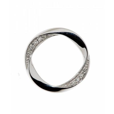 Pendentif Cercle Ondulé Or Blanc Diamant