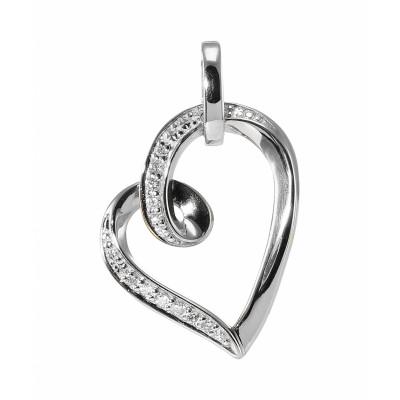 Pendentif Coeur Or Blanc 750 Diamant  0.07 carat