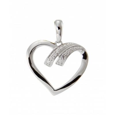 Pendentif Coeur Or Blanc 750 Diamant