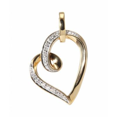 Pendentif Coeur Or Jaune 750 Diamant  0.07 carat