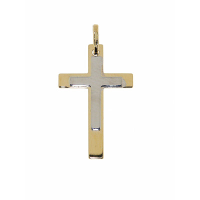 Pendentif Croix 2 Ors 27x13mm
