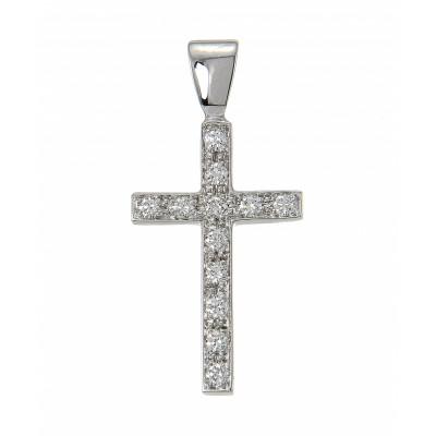 Pendentif Croix Diamant  Or Blanc