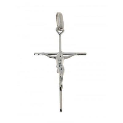 Pendentif Croix et Christ Or Blanc 31x16mm