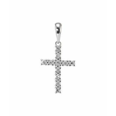 Pendentif Croix Or Blanc Diamant