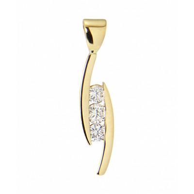 Pendentif Diamant Trilogie Or Jaune 0.38 carat