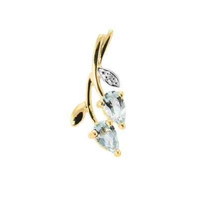 Pendentif Feuille Or jaune 375 Aigue Marine et Diamant