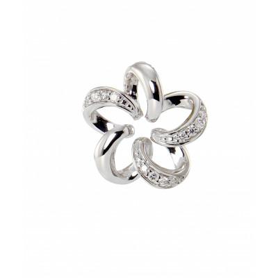 Pendentif Fleur Or Blanc 750 Diamant
