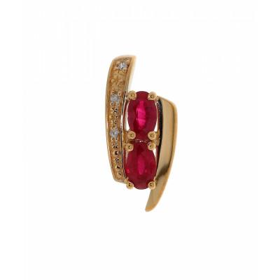 Pendentif Or 375  2 Rubis et Diamant