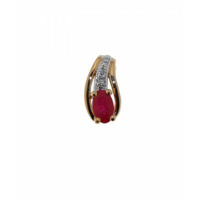 Pendentif Or 375 Rubis Ovale 5x3mm et Diamant