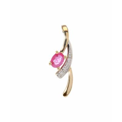 Pendentif  Or 750 2tons  Rubis Ovale 4x3mm et Diamant