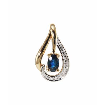 Pendentif Or 750 Saphir Ovale 4x3mm et Diamant