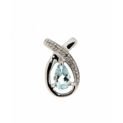 Pendentif Or Blanc 375 Aigue Marine Poire et Diamant