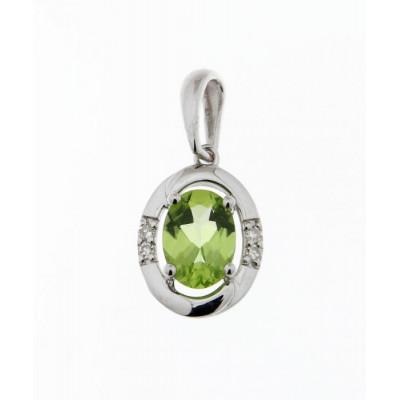 Pendentif Or Blanc 375 Péridot Ovale 7x5mm et Diamant