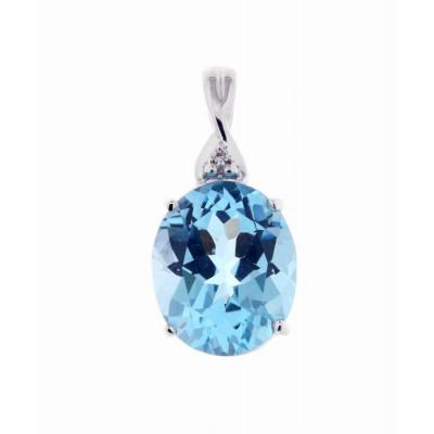 Pendentif Or Blanc 375 Topaze Bleue Ovale 12x10mm et Diamant
