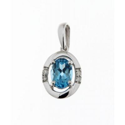 Pendentif Or Blanc 375 Topaze Bleue Ovale 7x5mm et Diamant