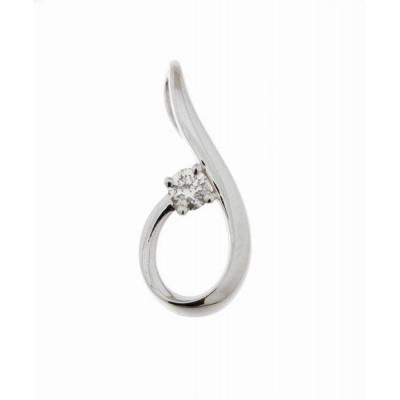 Pendentif Or Blanc 750 Diamant  0.106 carat