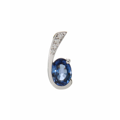Pendentif Or Blanc 750 Saphir Ovale 7x5mm et Diamant