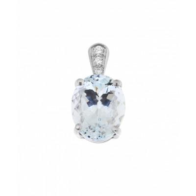 Pendentif Or Blanc Aigue Marine Ovale 10x8mm et Diamants