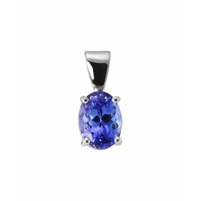 Pendentif Or Blanc Tanzanite Ovale 8x6mm Serti Griffes