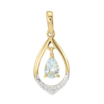 Pendentif or jaune 375 Aigue marine poire 6x4 et diamant