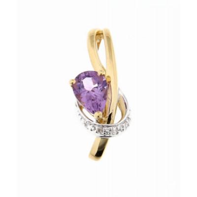 Pendentif Or Jaune 375 Améthyste Poire 7x5mm et Diamant
