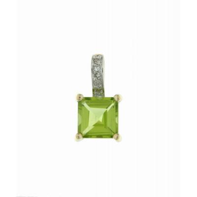 Pendentif Or Jaune 375 Péridot Carré 6x6mm et Diamant