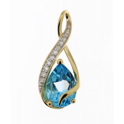 Pendentif Or Jaune 375 Topaze Bleue Poire 10x8mm et Diamant