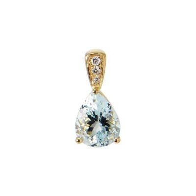 Pendentif Or Jaune 750 Aigue Marine Poire 9x7m et Diamants