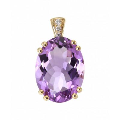 Pendentif Or Jaune 750 Améthyste Ovale 16x12mm et diamants