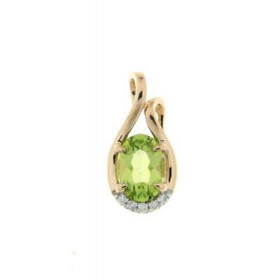 Pendentif Or Jaune 750 Péridot Ovale 7x5mm et Diamant