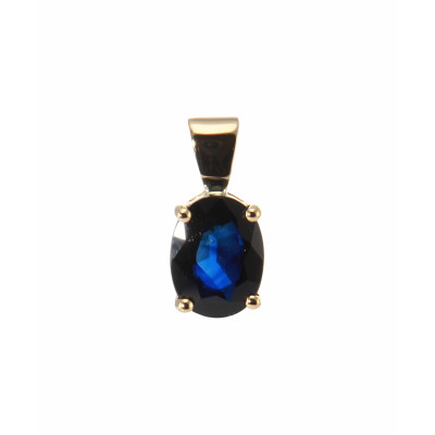 Pendentif Or Jaune Saphir Ovale 8x6mm