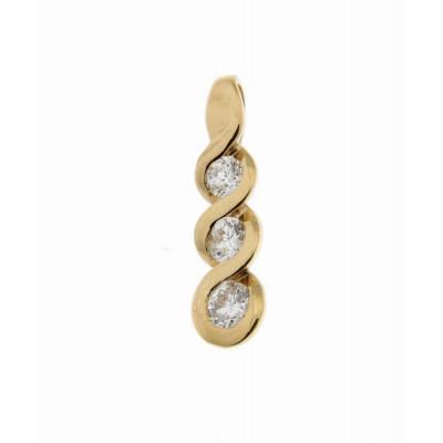 Pendentif Trilogie Or Jaune 750 Diamant  0.36 carat