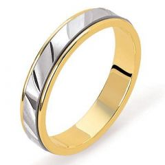 Alliance 2 Ors satinée et diamantée - 3.2mm